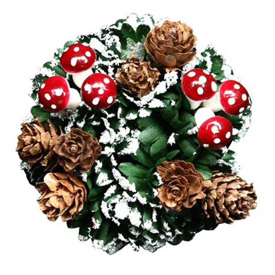 Snowy Fir, Toadstool and Cone Candle Ring 4cm