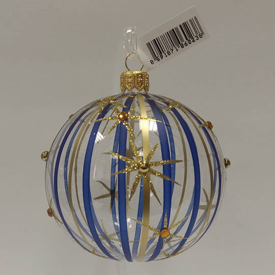 Glass Ball Clear, Blue and Gold Stripes and Stars 8cm
