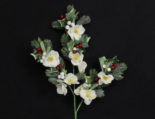 Frosted Fir and Christmas Rose Branch 45cm