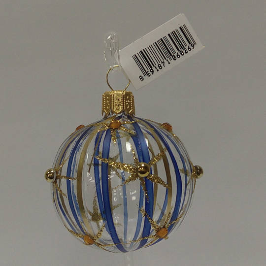 Glass Ball Clear, Blue and Gold Stripes and Stars 5cm