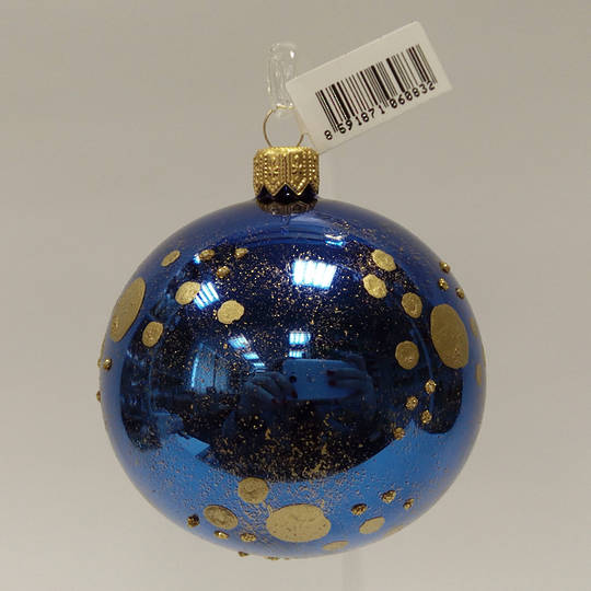 Glass Ball Metallic Blue, Gold Dots and Gold Decor 8cm