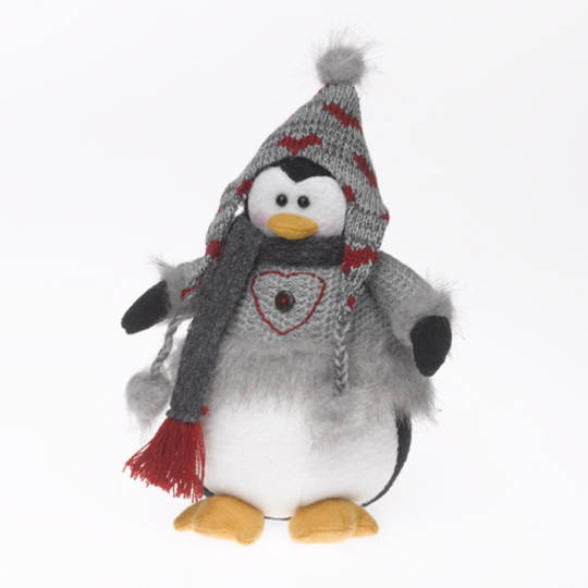 Plush Penguin with Grey Jumper