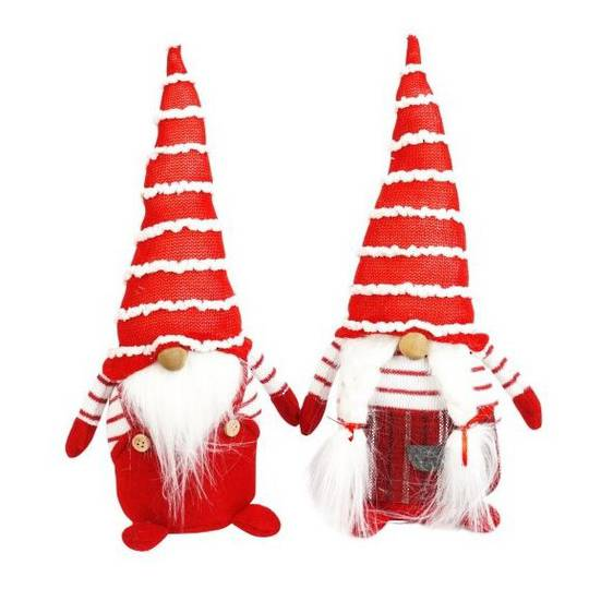 Plush Santa with Stripe Hat and Shirt