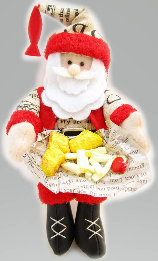 Iconic Hanging Fabric Fish & Chip Santa
