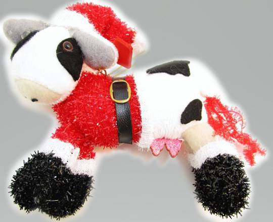 Iconic Hanging Fabric Xmas Cow with Santa Hat