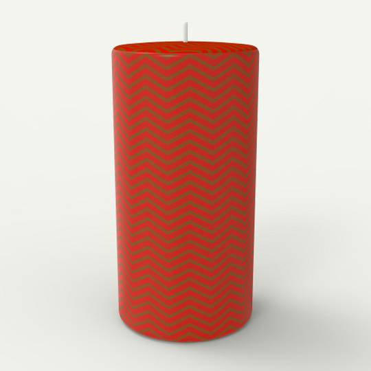 Zig Zag Candle, Red & Gold