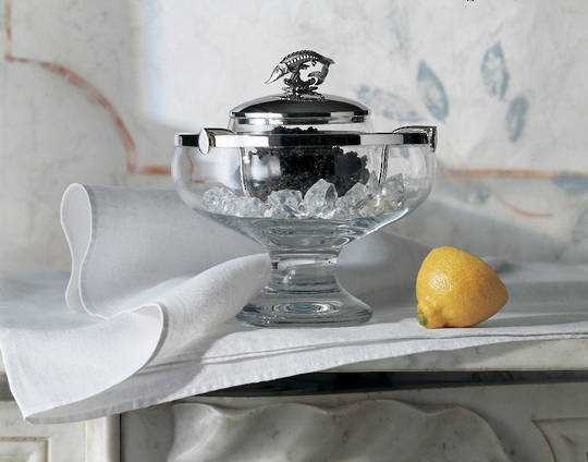 Sterling Silver and Crystal Caviar Bowl