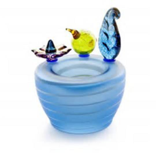 Artglass Flora and Fauna Vase. Blue