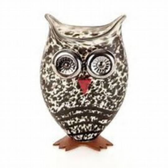 Artglass Footed Owl Vase Beige