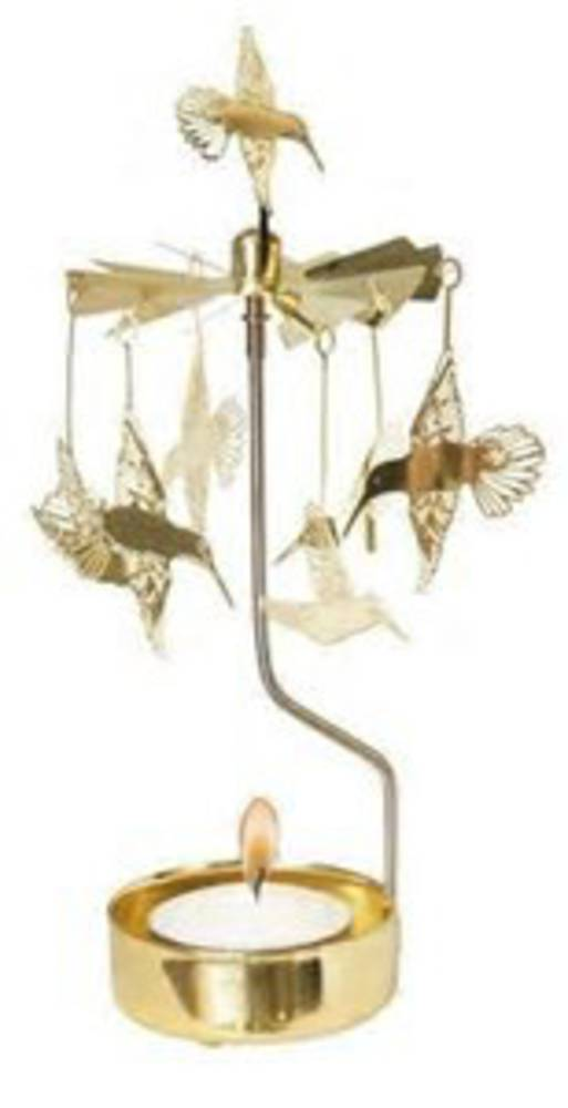 Rotary Candle Holder Hummingbird, Gold