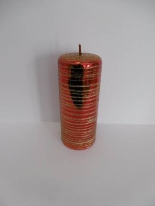 Pillar Candle 180x70mm Metallic Red with Gold Glitter