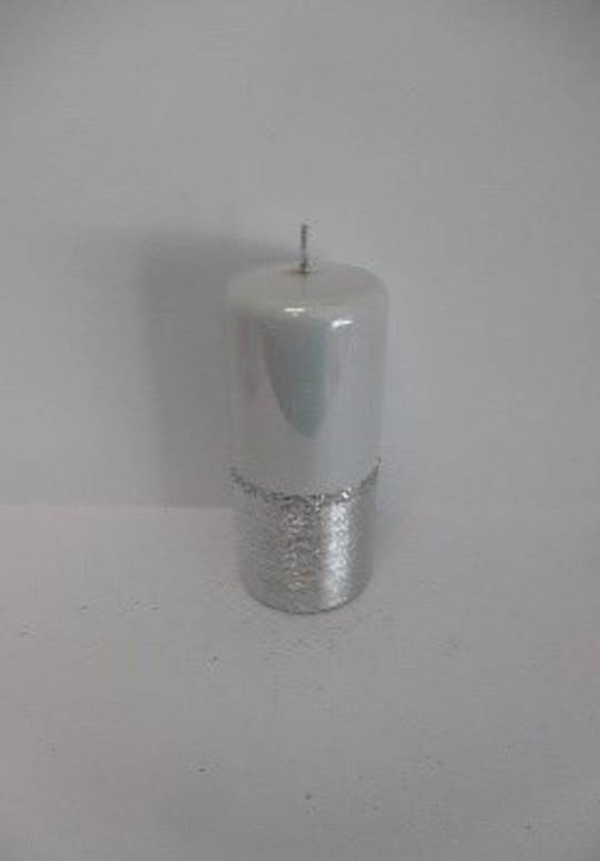 Pillar Candle 180x70mm Metallic White With Brushed Silver Band