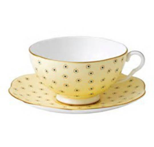 Wedgwood Polka Dot Cup and Saucer, Yellow 250ml