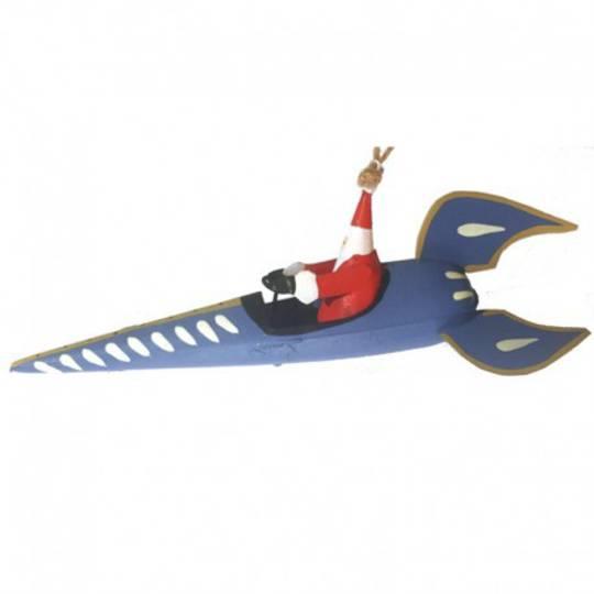 Tin Santa in Blue Rocket