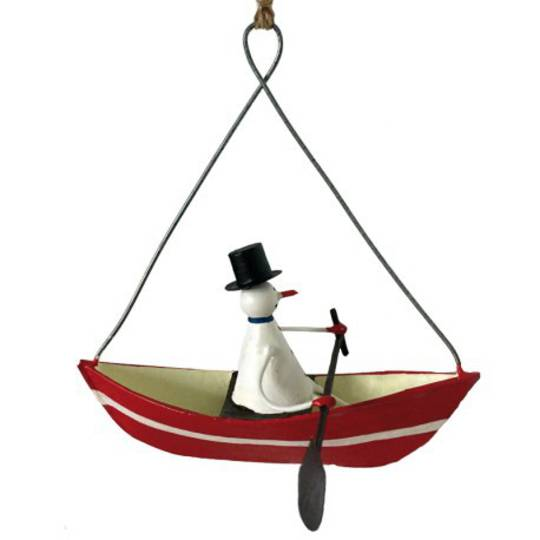 Tin Snowman in Row Boat