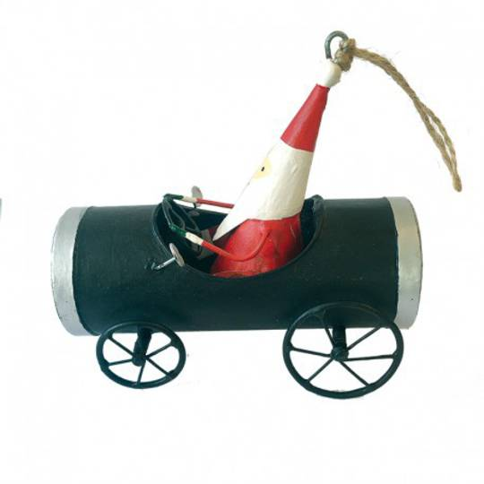 Tin Santa in Black Derby Car