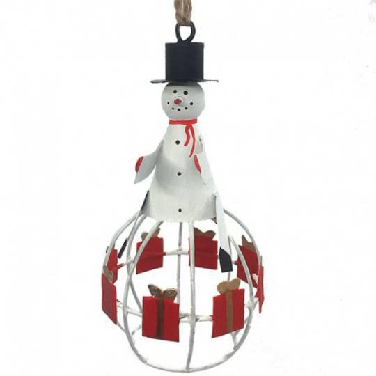 Tin Snowman on Gift Globe
