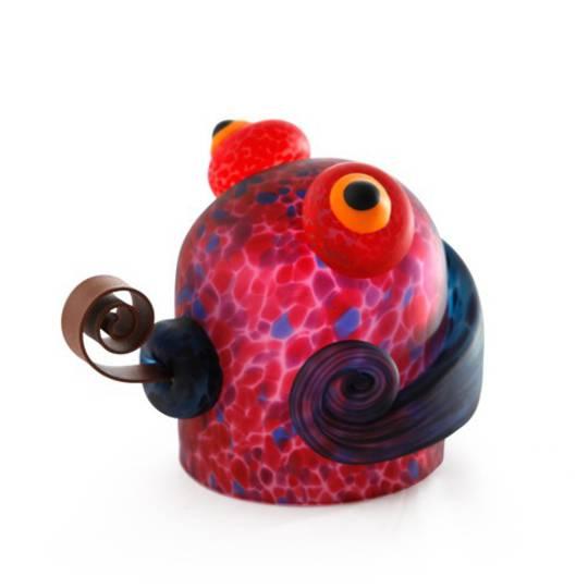 Artglass. Gekko Paperweight. Red