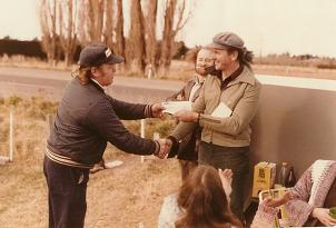 Gavin accepting fundraising cheque from the late Murray Ditiford that launched the start of the Combined Shows