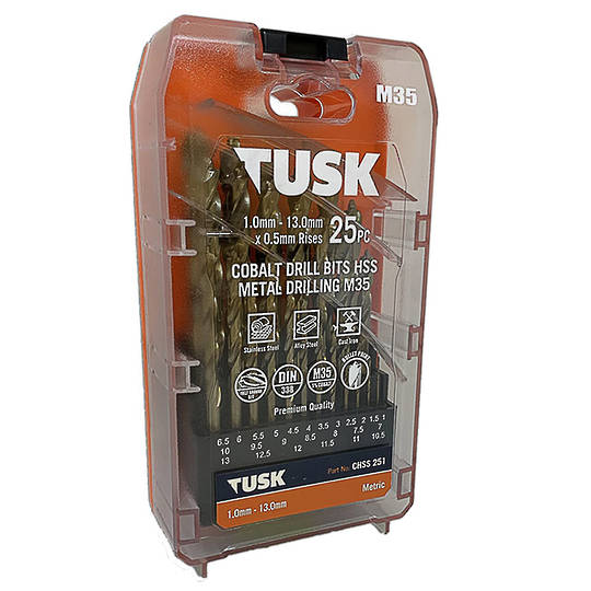 Tusk 25Pcs Cobalt Drill Set 1-13mm