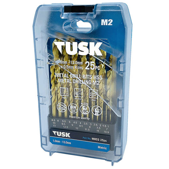 Tusk 25pc HSS Tin Coated Drill Set