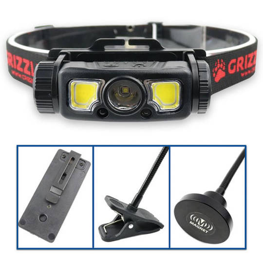Grizzly Rechargable 4-In-1 LED Headlight and Woklight