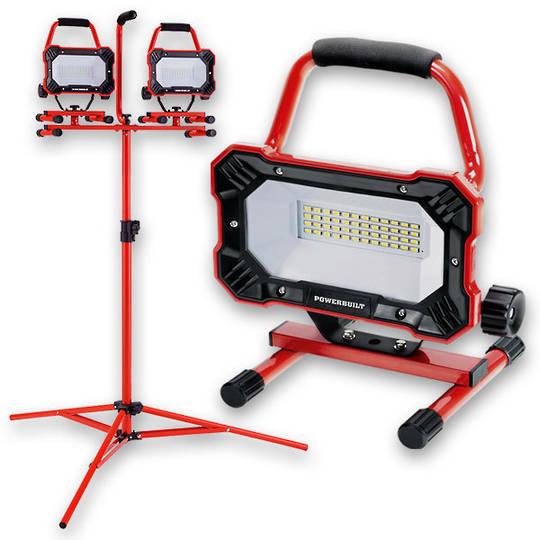 Powerbuilt 2x Portable LED Worklamps w\ Tripod