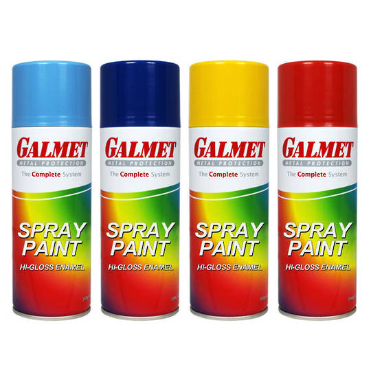 Galmet Gloss Black Spray Paint 350g
