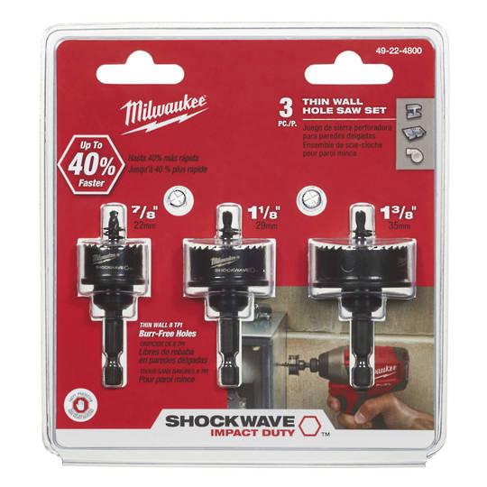 Milwaukee 3PC ThinWall HoleSaws 22 - 35mm