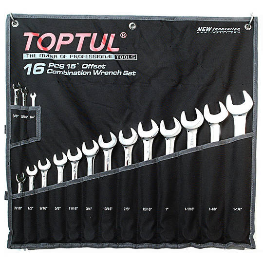 "TopTul Spanner Set 16pc 1/4"" - 1.1/4"""