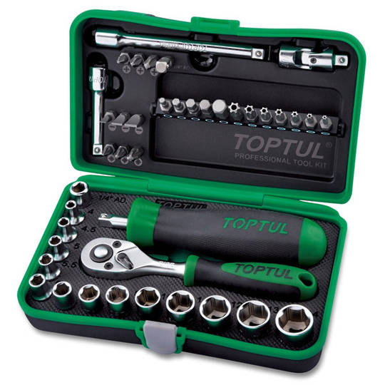TopTul 41pc Socket & Bit Set 1/4Dr