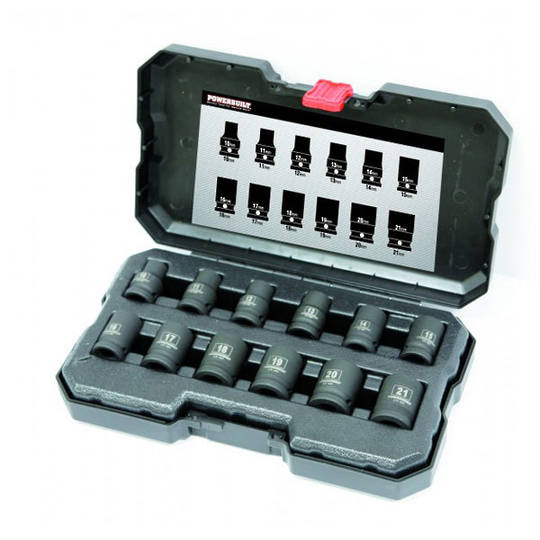 "Powerbuilt 1/2"" Dr 12pc 6pt Impact Std Socket Set"