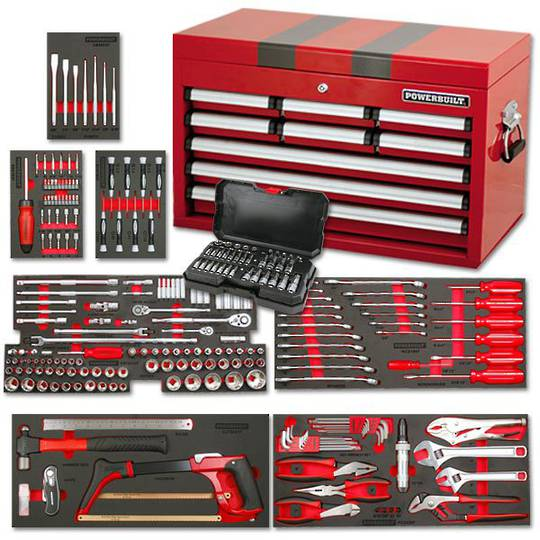 Powerbuilt 254pc 9 Drawer Tool Chest Kit