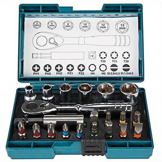 Makita 21pc Ratchet Bit & Socket set