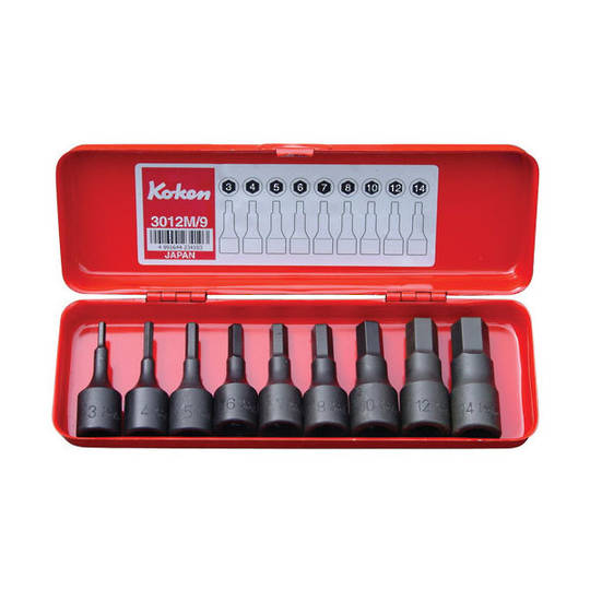 "Koken 3/8"" Dr Inhex Socket Set In Case - 9pc Metric"