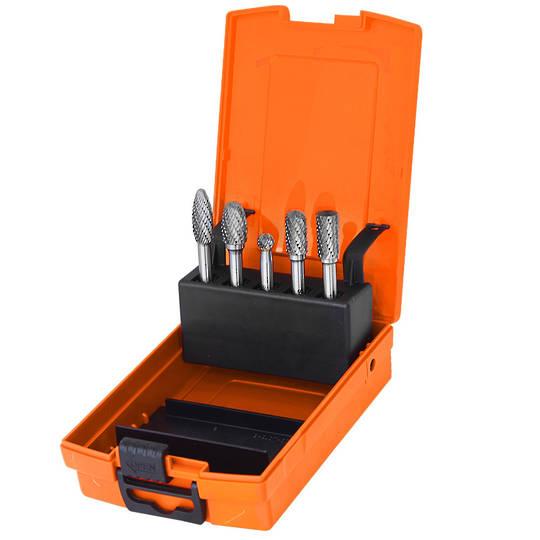 """SP Tools 5pc Carbide Burr Set 1/4"""" shk"""