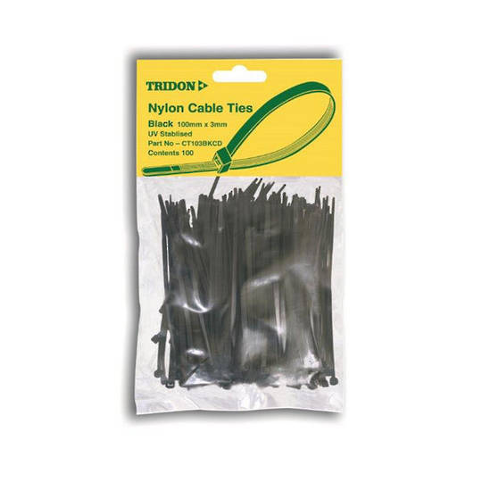 Tridon Cable Ties 5mmx250mm Black 100 pack