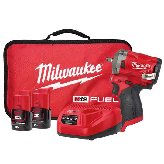 "Milwaukee M12FIW38-202B Stubby 3/8"" Impact Wrench Kit"