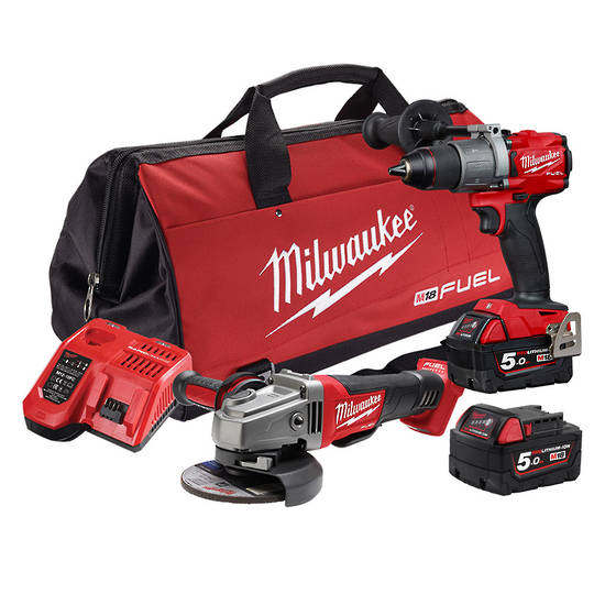 Milwaukee 2pc Drill & Grinder 5AH Kit