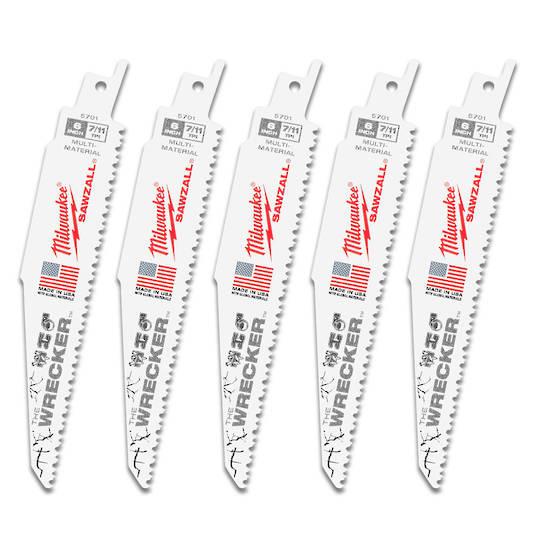 Milwaukee Sabresaw blades 8TPI x150mm Wrecker 5pk