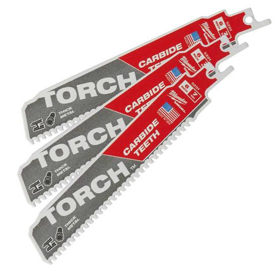 Milwaukee Sabresaw blades 7TPI x150mm Torch Carbide Teeth 3pk