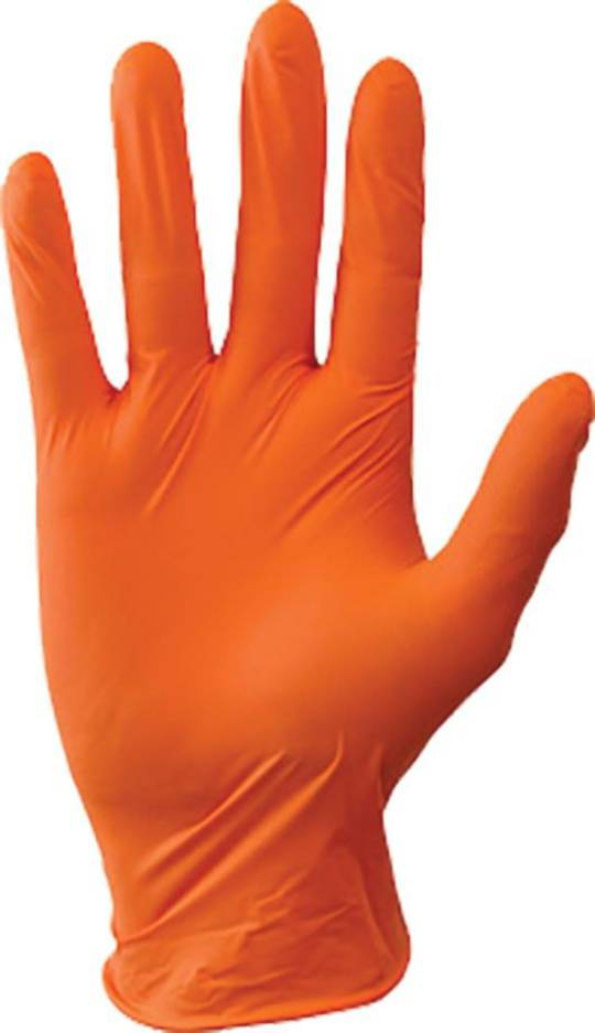 ORANGE NITRILE GLOVES - X LARGE