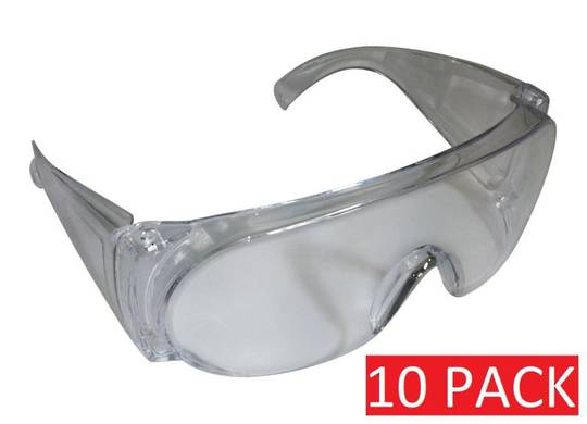 SAFETY GLASSES CLEAR - OVER WEAR (10 pk)