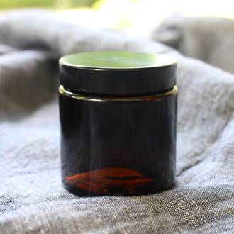 Amber glass pot - black lid: 100ml