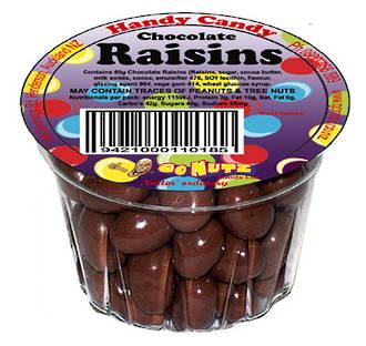Handy Candy Chocolate Raisins Tub 60g - 12 Tray