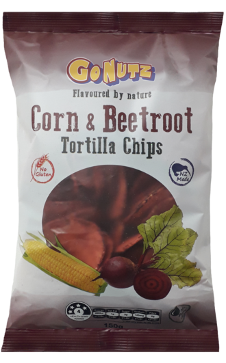 Corn & Beetroot Tortilla Chips 150g - 6 box display