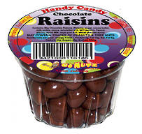 Handy Candy Chocolate Raisins Tub 65g - 18 Ctn