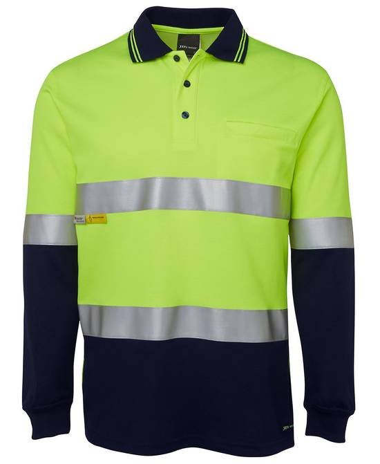 6HMCB Hi Vis L/S (D+N) Cotton Back Polo