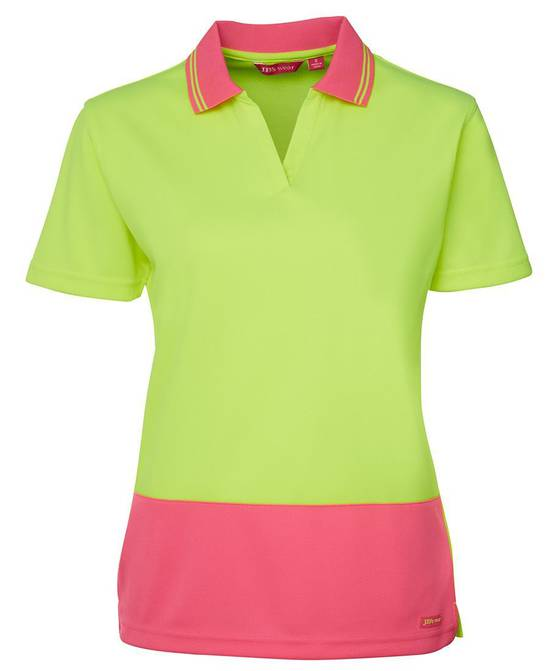 6HNB1 Hi Vis Ladies S/S Non Button Polo