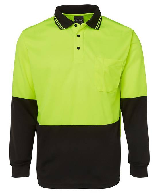6HVPL Hi Vis L/S Traditional Polo